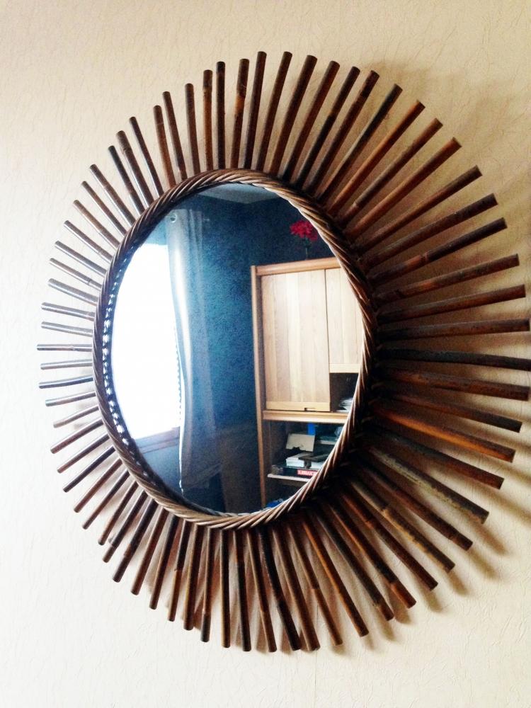 Miroir soleil en bois vintage luckyfind for Miroir soleil bois