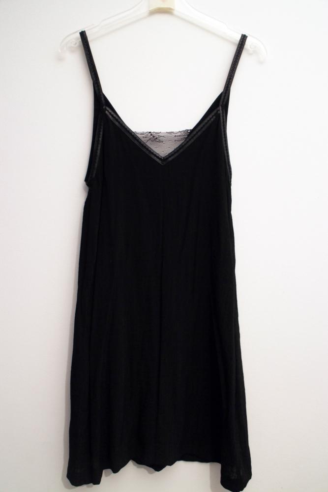 robe maje fine bretelle cuir dentelle noire luckyfind. Black Bedroom Furniture Sets. Home Design Ideas