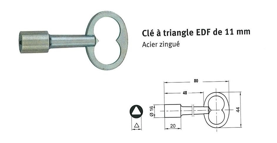 Cl triangle pass batteuses edf 11 mm luckyfind - Cle triangle edf ...