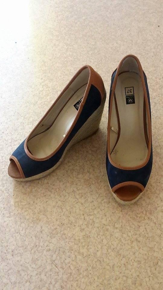 escarpins talons compens s bleu roi marron luckyfind. Black Bedroom Furniture Sets. Home Design Ideas