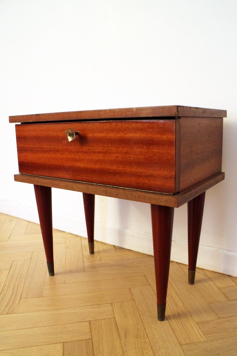 Table de chevet vintage bois pieds fusel s luckyfind - Pieds de table vintage ...
