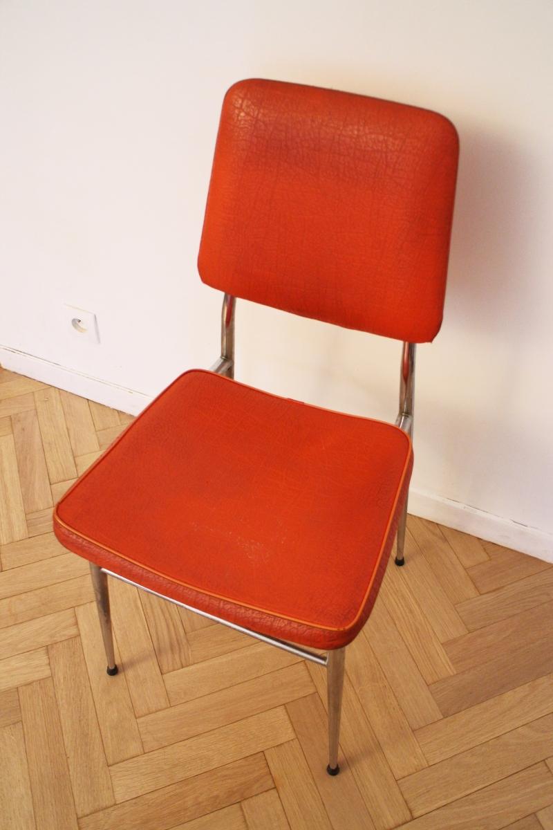 chaise vintage pas cher orange 70 39 s luckyfind. Black Bedroom Furniture Sets. Home Design Ideas