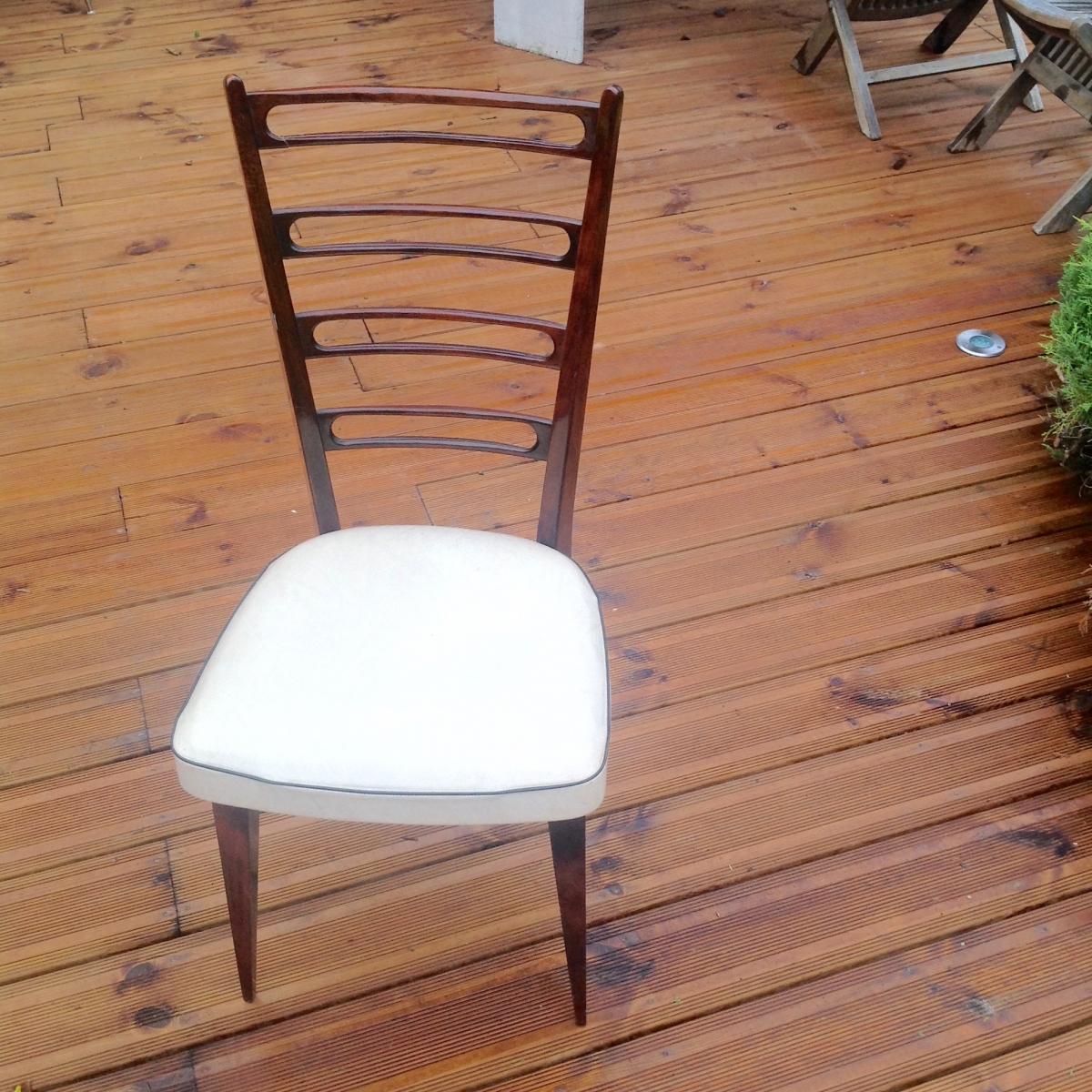 Chaise vintage pas cher blanche et bois luckyfind - Objet vintage pas cher ...