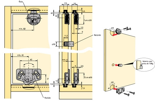 Ferrure roulette de porte coulissante slide line 55 for Roulette porte coulissante placard