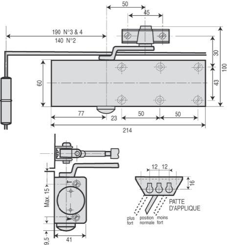 ferme porte complet hydraulique professionnel iseo levasseur hl 100 force 4 luckyfind. Black Bedroom Furniture Sets. Home Design Ideas