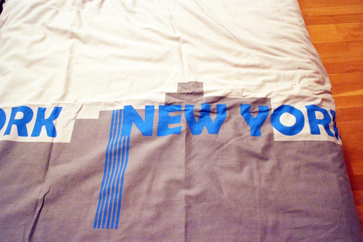 Housse de couette et taie d 39 oreiller lit 1 personne new york luckyfind - Housse de couette new york 1 place ...