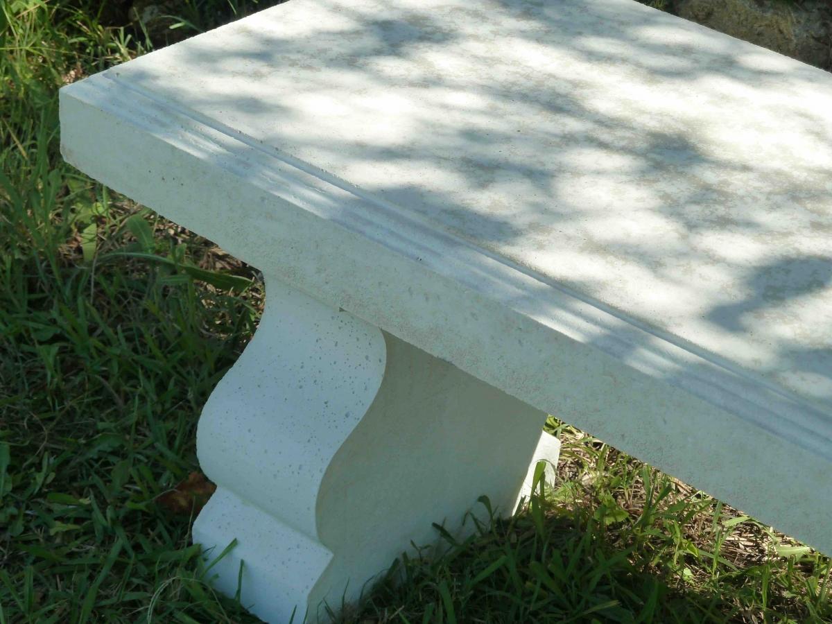 banc blanc de jardin en pierre reconstituée – luckyfind