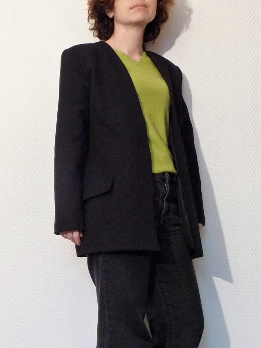 Veste longue cintree noire