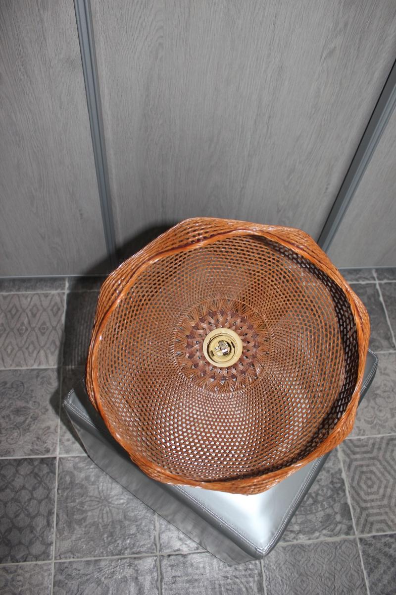 Plafonnier en rotin vintage 60 39 s luckyfind for Plafonnier rotin