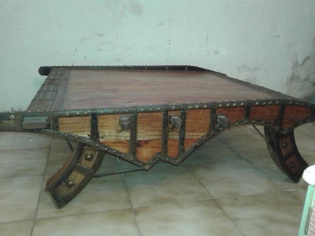 Table basse bois exotique massif et m tal inde luckyfind - Table basse bois exotique massif ...