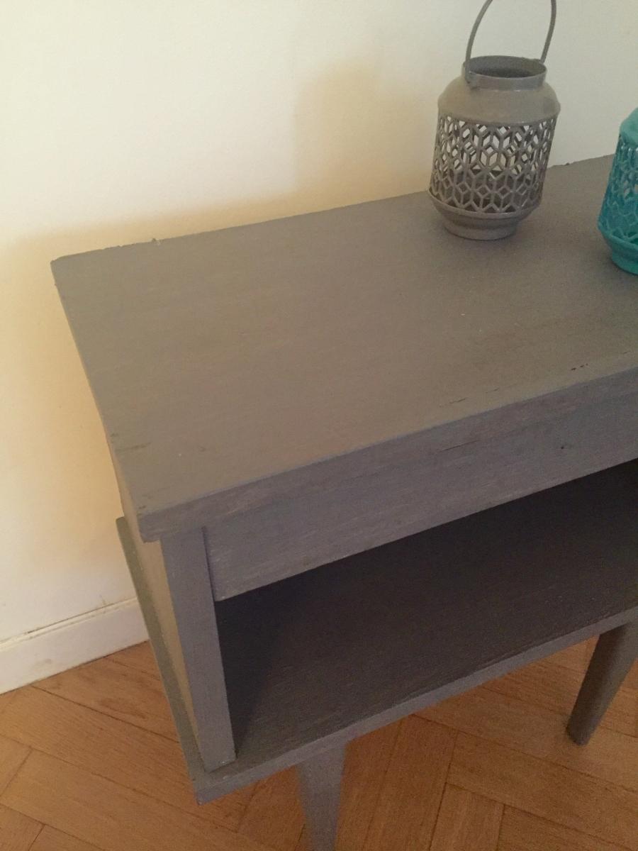 table de chevet vintage pieds compas pas cher luckyfind. Black Bedroom Furniture Sets. Home Design Ideas
