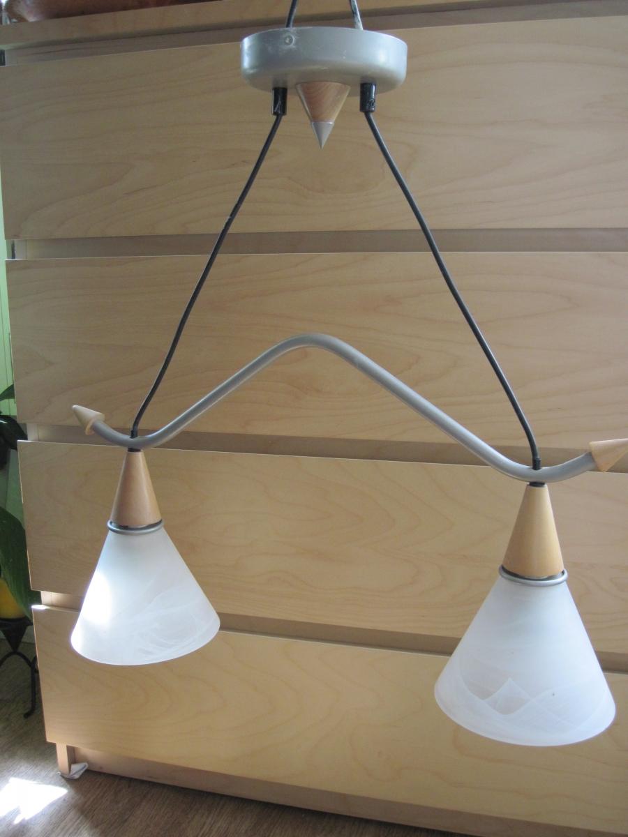 Luminaire suspension 2 abat jour verre m tal bois luckyfind for Luminaire abat jour suspension
