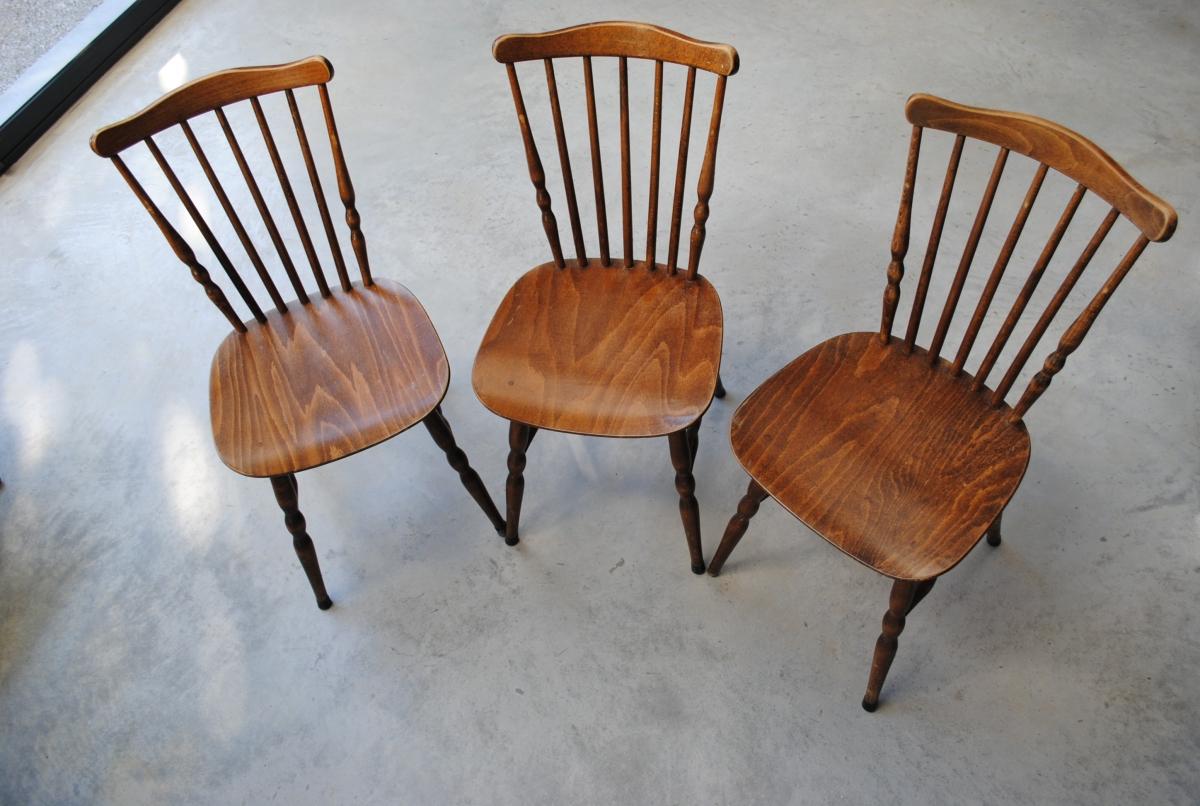 3 chaises bistrot baumann tacoma vintage ann es 60 luckyfind. Black Bedroom Furniture Sets. Home Design Ideas