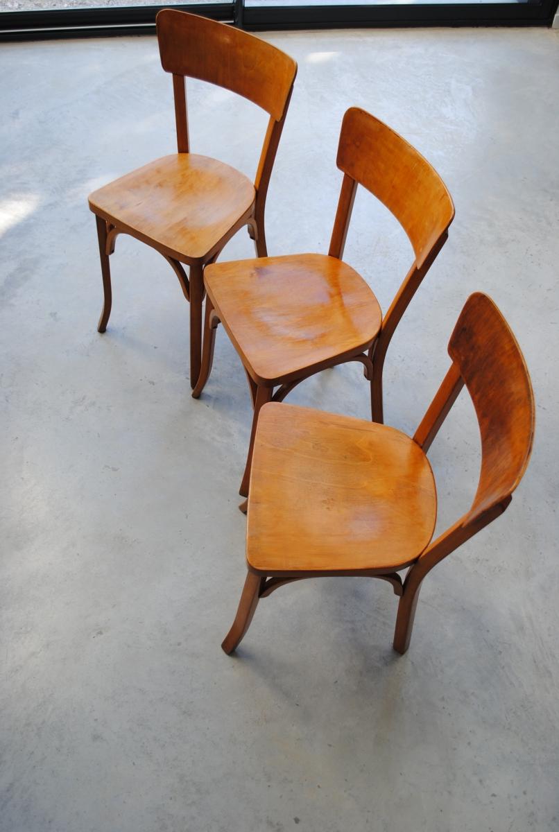3 chaises de bistrot emile baumann vintage ann es 50. Black Bedroom Furniture Sets. Home Design Ideas