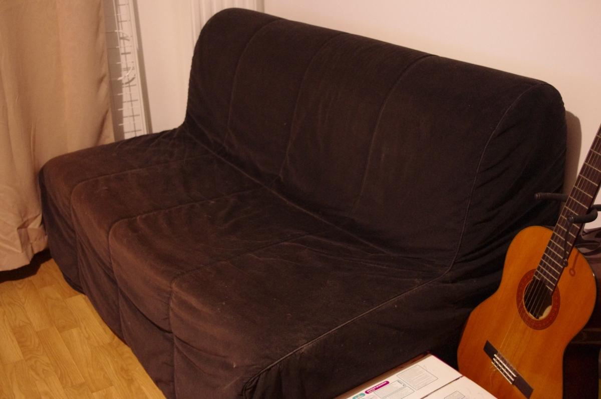 canap convertible bz 2 places noir luckyfind. Black Bedroom Furniture Sets. Home Design Ideas