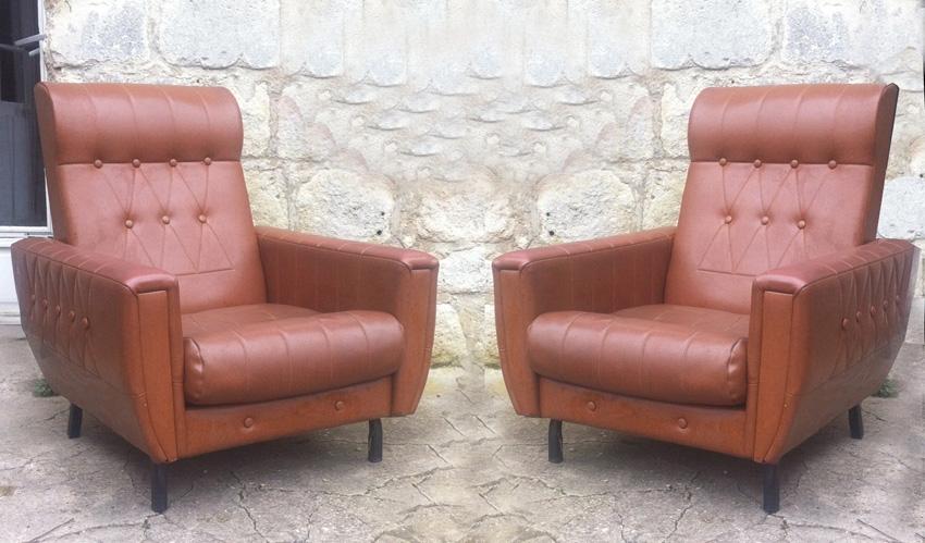 paire de fauteuils de salon en ska marron ann es 1960 luckyfind. Black Bedroom Furniture Sets. Home Design Ideas