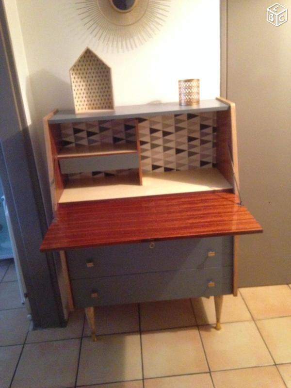 secretaire vintage ann e 50 luckyfind. Black Bedroom Furniture Sets. Home Design Ideas