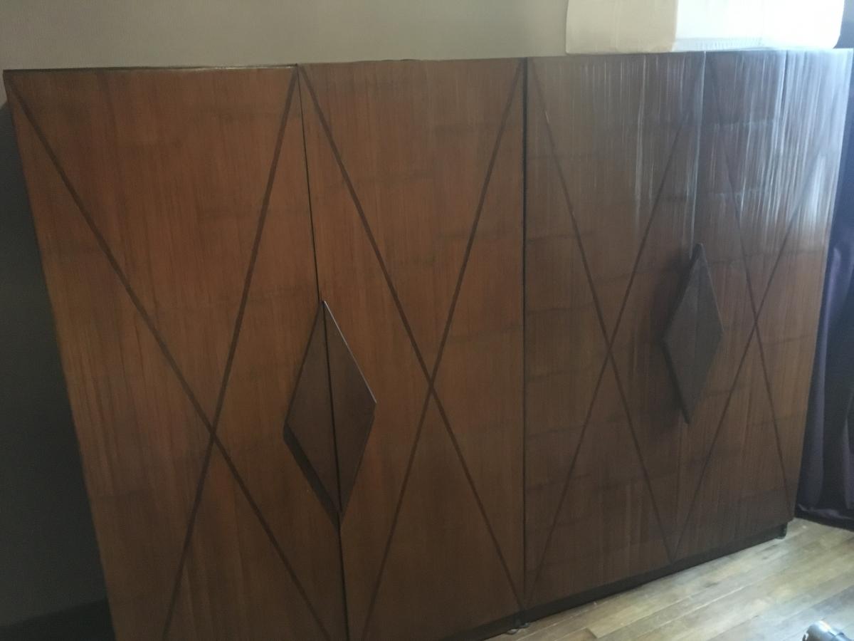 armoire en teck massif et bambou deroul luckyfind. Black Bedroom Furniture Sets. Home Design Ideas