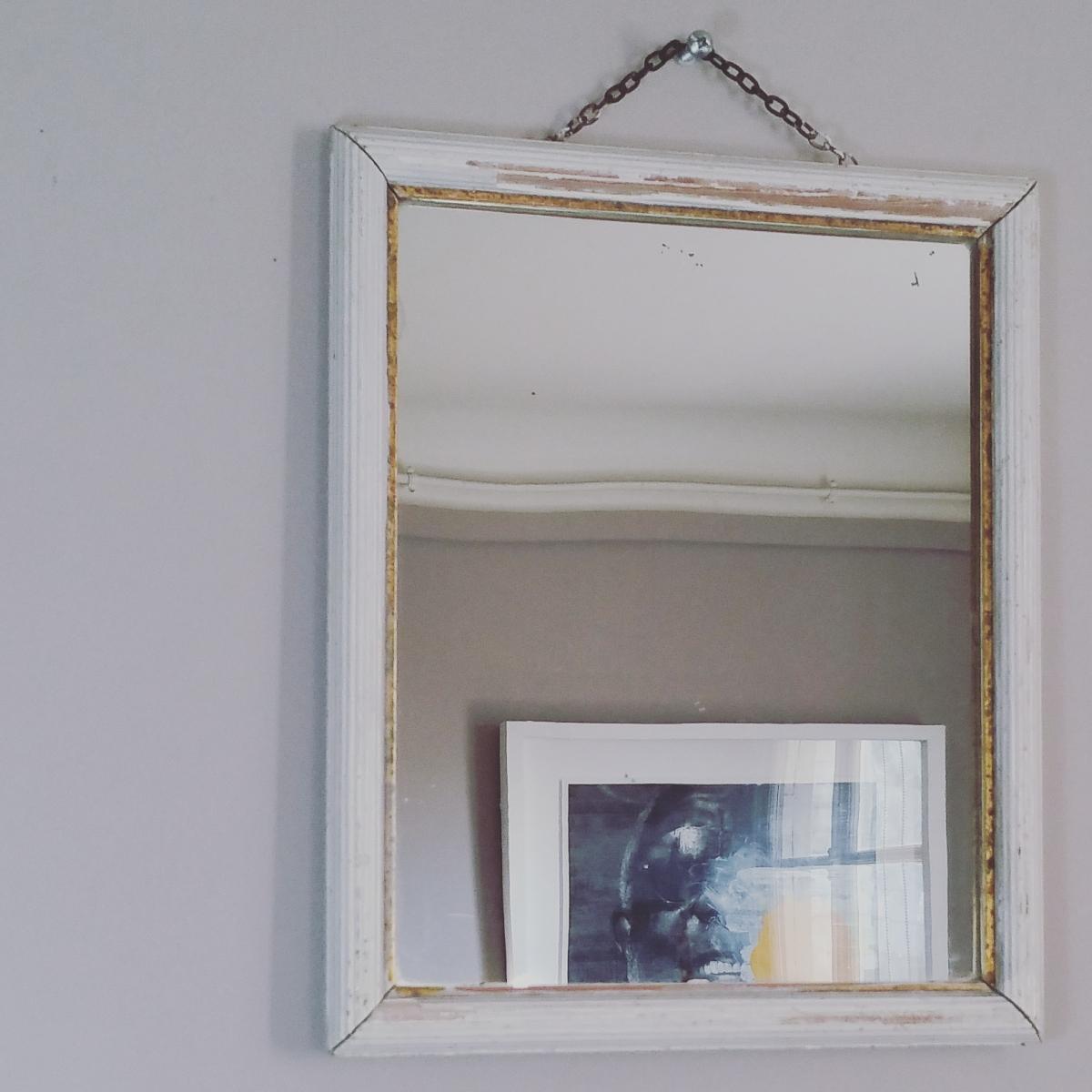 Patine Blanche Sur Bois ancien miroir de barbier vintage en bois patiné blanc et doré
