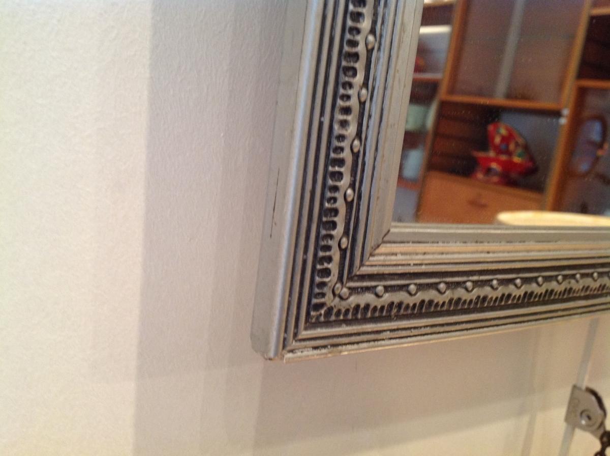 charmant miroir ancien art d co bois argent luckyfind. Black Bedroom Furniture Sets. Home Design Ideas
