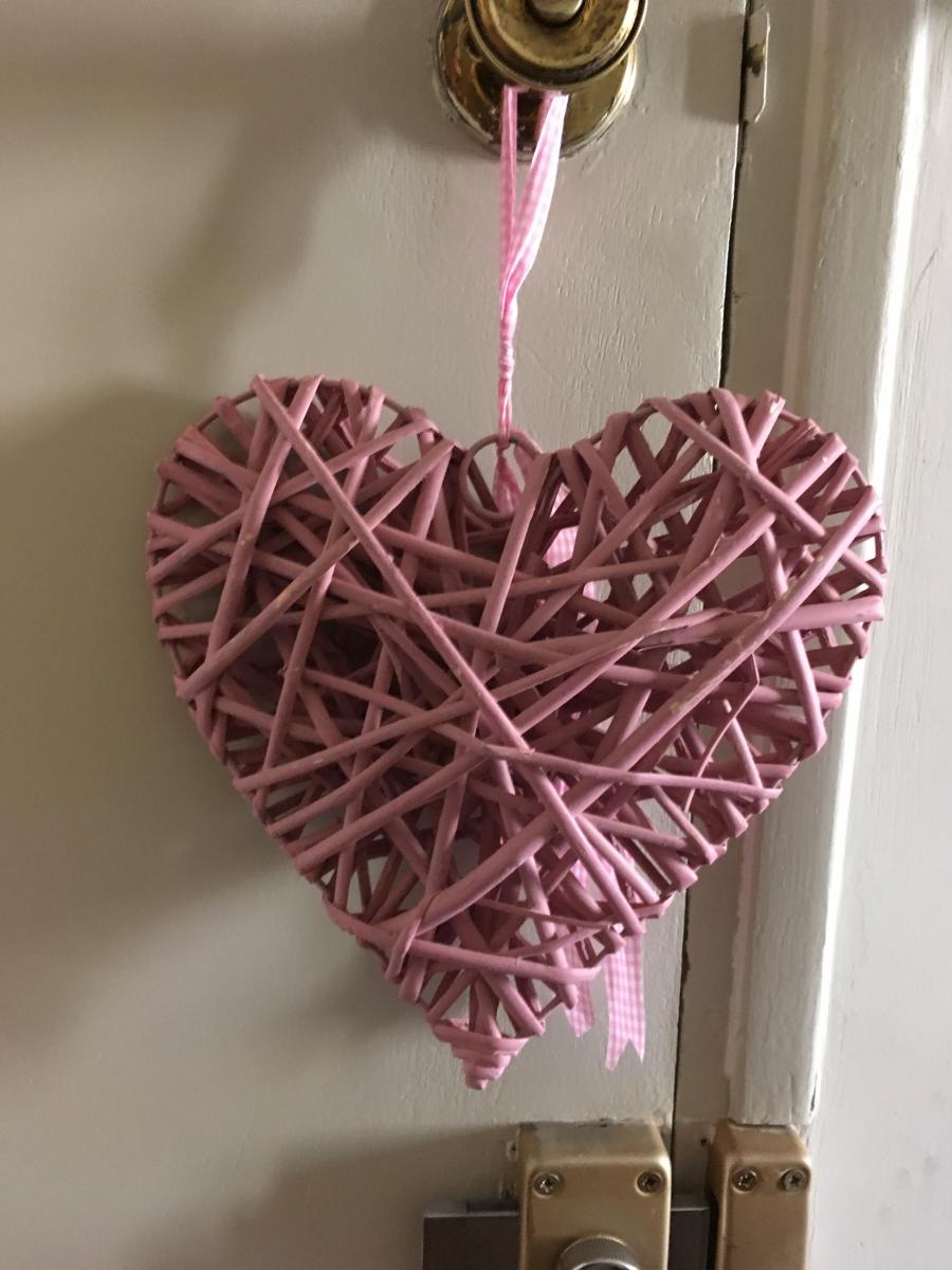 Coeur rose en osier luckyfind - Coeur en osier ...