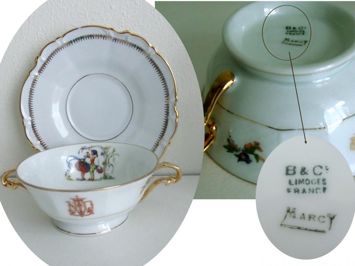 ancienne tasse bouillon th et sa soucoupe porcelaine. Black Bedroom Furniture Sets. Home Design Ideas