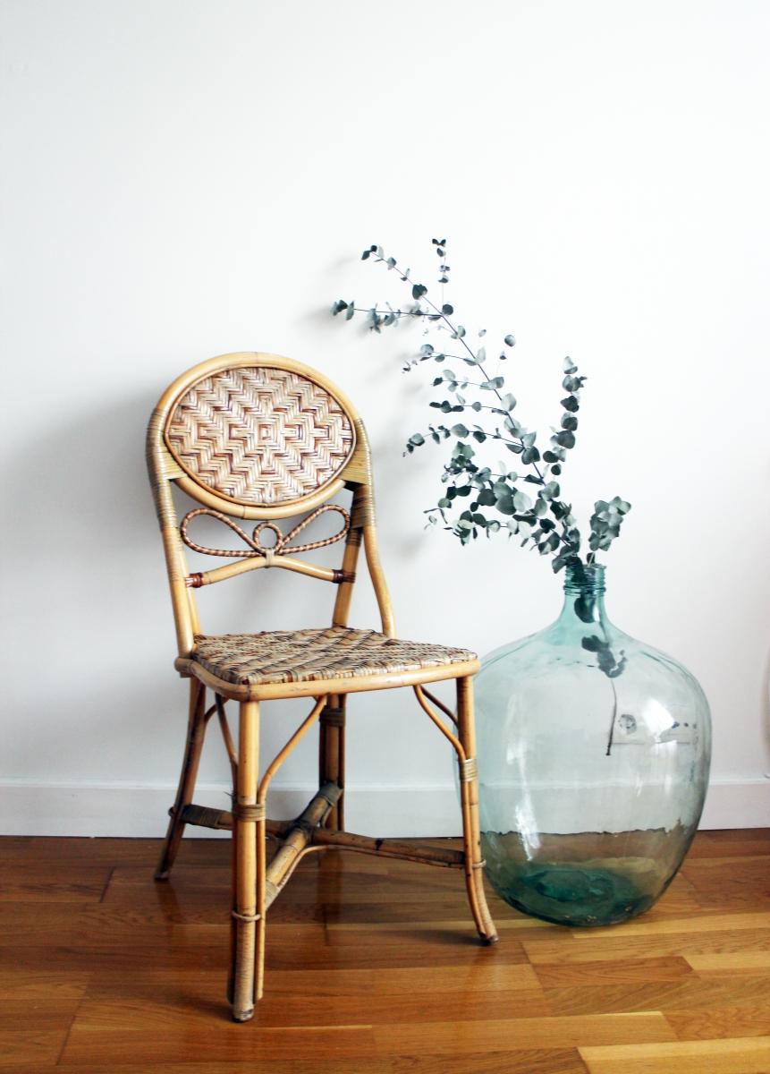 chaise bistrot rotin ann es 70 luckyfind. Black Bedroom Furniture Sets. Home Design Ideas