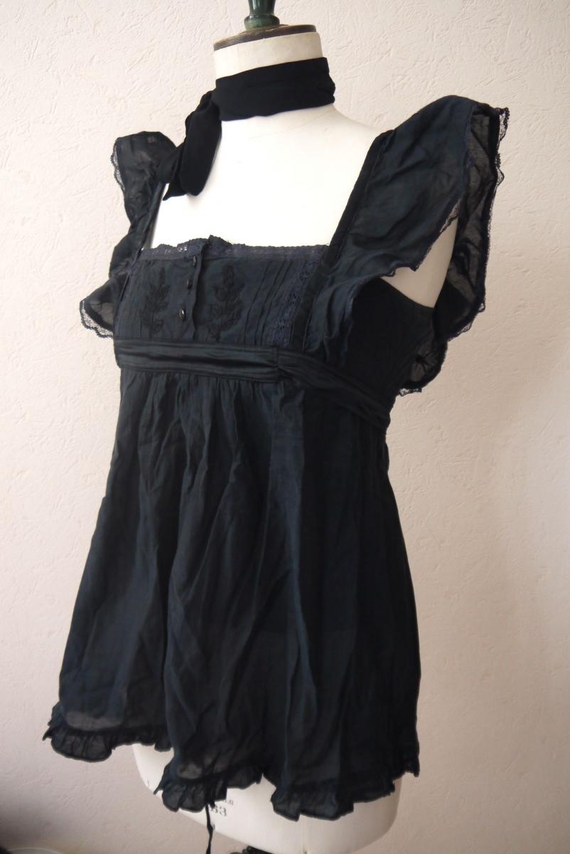 top blouse chemisier dentelle noir volant romantique sexy femme ange taille 36 luckyfind. Black Bedroom Furniture Sets. Home Design Ideas