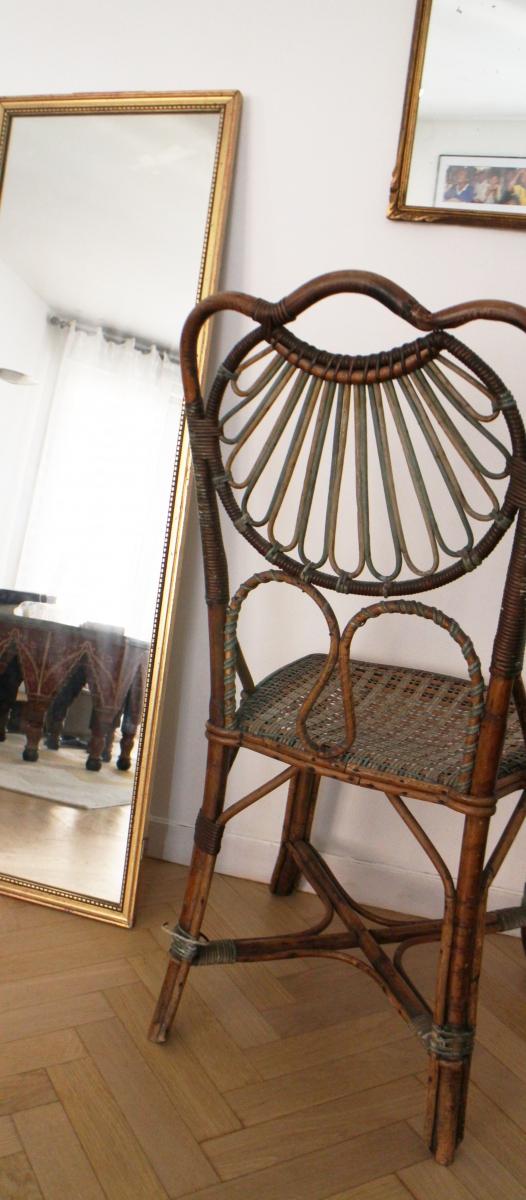 chaise vintage en osier color e luckyfind. Black Bedroom Furniture Sets. Home Design Ideas