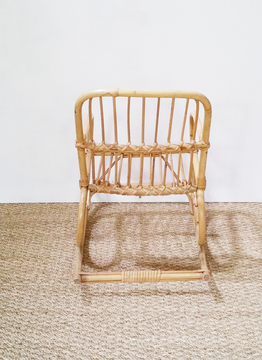 fauteuil rotin bascule enfant vintage luckyfind. Black Bedroom Furniture Sets. Home Design Ideas