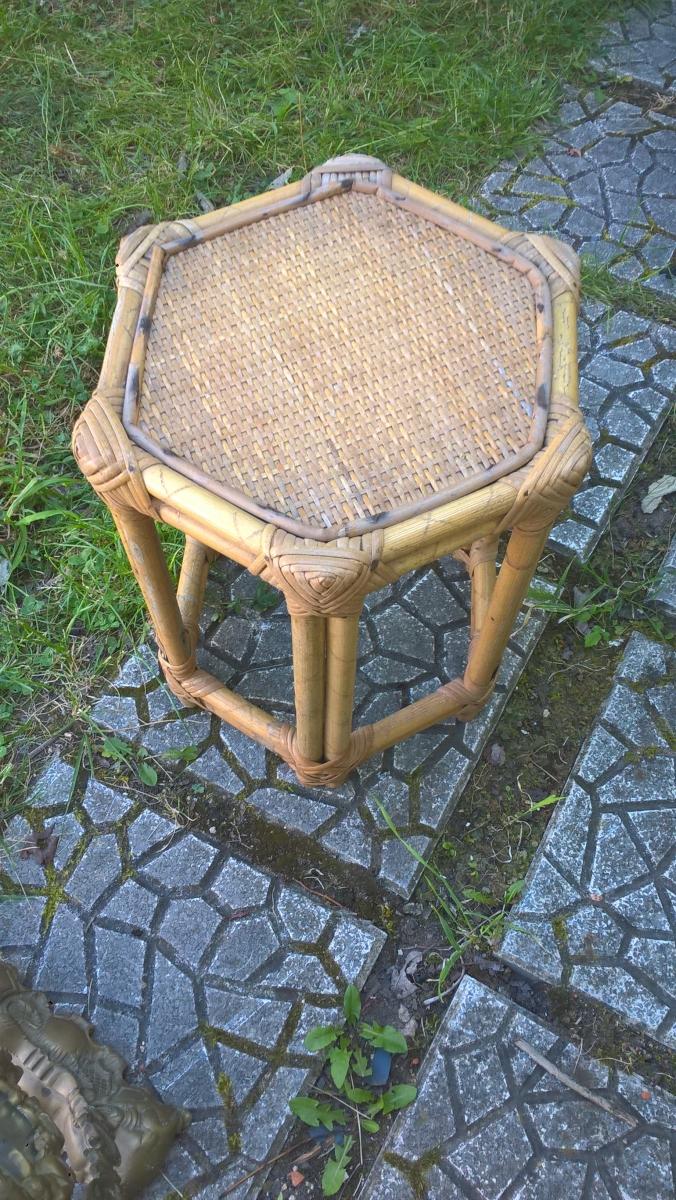 superbe table d 39 appoint en bambou et rotin luckyfind. Black Bedroom Furniture Sets. Home Design Ideas