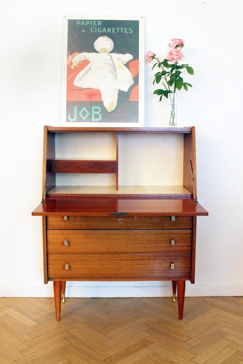 Secr taire bureau vintage ann es 60 scandinave luckyfind - Bureau annee 60 ...