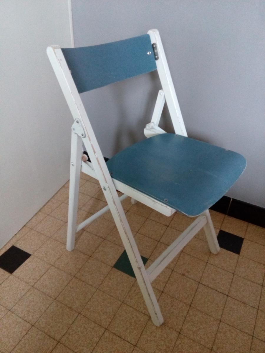 Chaise Pliante Vintage Retro Dappoint En Bois Bleu Et Blanc