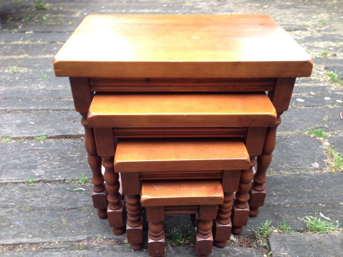 Lot De 4 Tables Gigognes Bois Massif Luckyfind