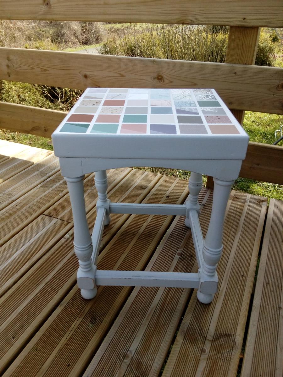 chevet table de nuit console sellette tabouret recycl relook en gris patin style shabby. Black Bedroom Furniture Sets. Home Design Ideas