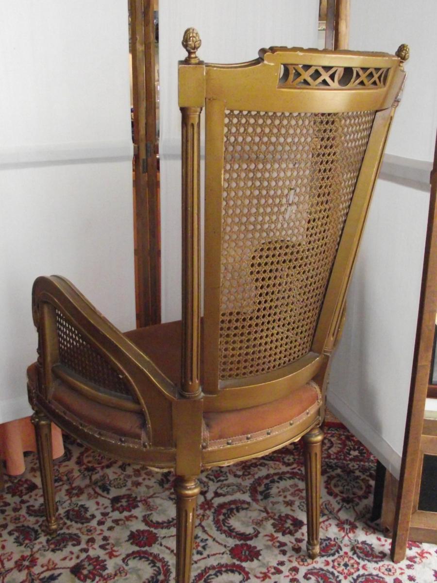 fauteuil de bureau dossier cannel style louis xvi. Black Bedroom Furniture Sets. Home Design Ideas