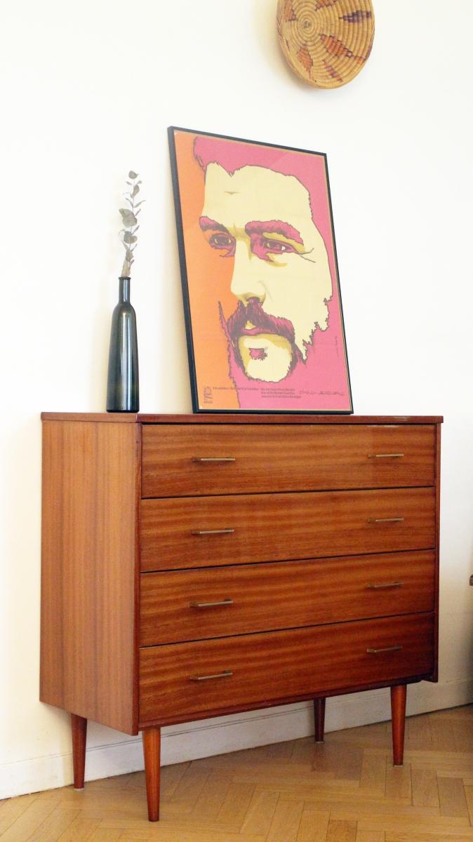 commode vintage scandinave pieds compas 70s luckyfind. Black Bedroom Furniture Sets. Home Design Ideas