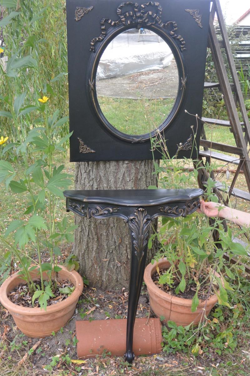 Miroir ancien et sa console luckyfind for Miroir et console