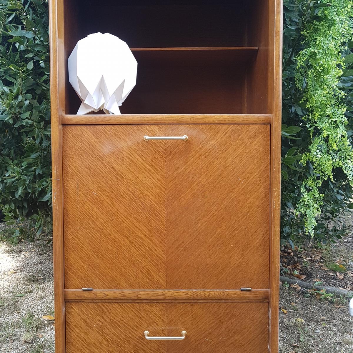 secretaire haut vintage en bois luckyfind. Black Bedroom Furniture Sets. Home Design Ideas