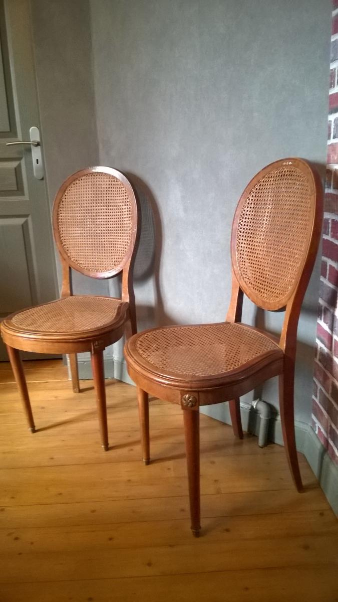 Style De Chaises Anciennes 2 chaises cannées médaillon style louis xvi