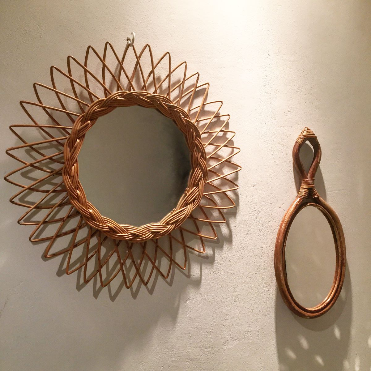 miroir soleil rotin vintage luckyfind. Black Bedroom Furniture Sets. Home Design Ideas