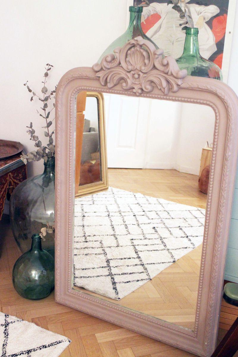 grand miroir trumeau ancien de chemin e de 1m20 luckyfind. Black Bedroom Furniture Sets. Home Design Ideas