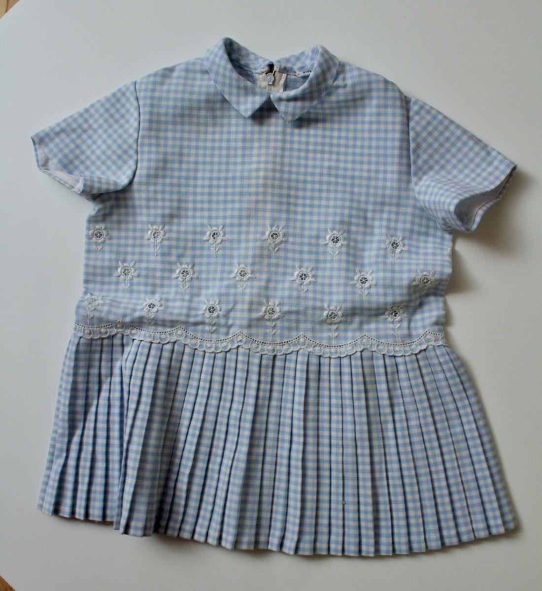 robe vintage vichy bleu et blanc 12 mois luckyfind. Black Bedroom Furniture Sets. Home Design Ideas