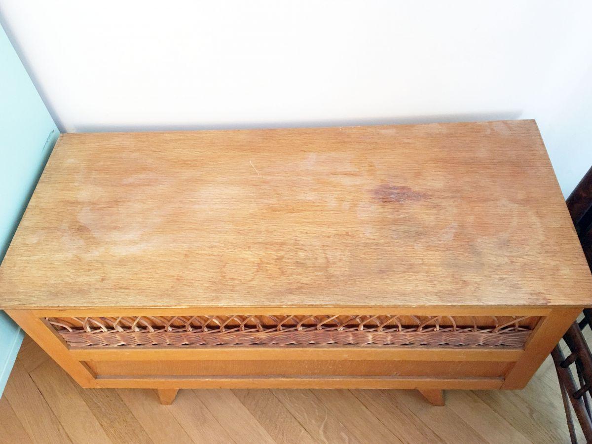 grande vente 41e6d 34a0e Banc coffre à jouets vintage en bois et rotin 70's