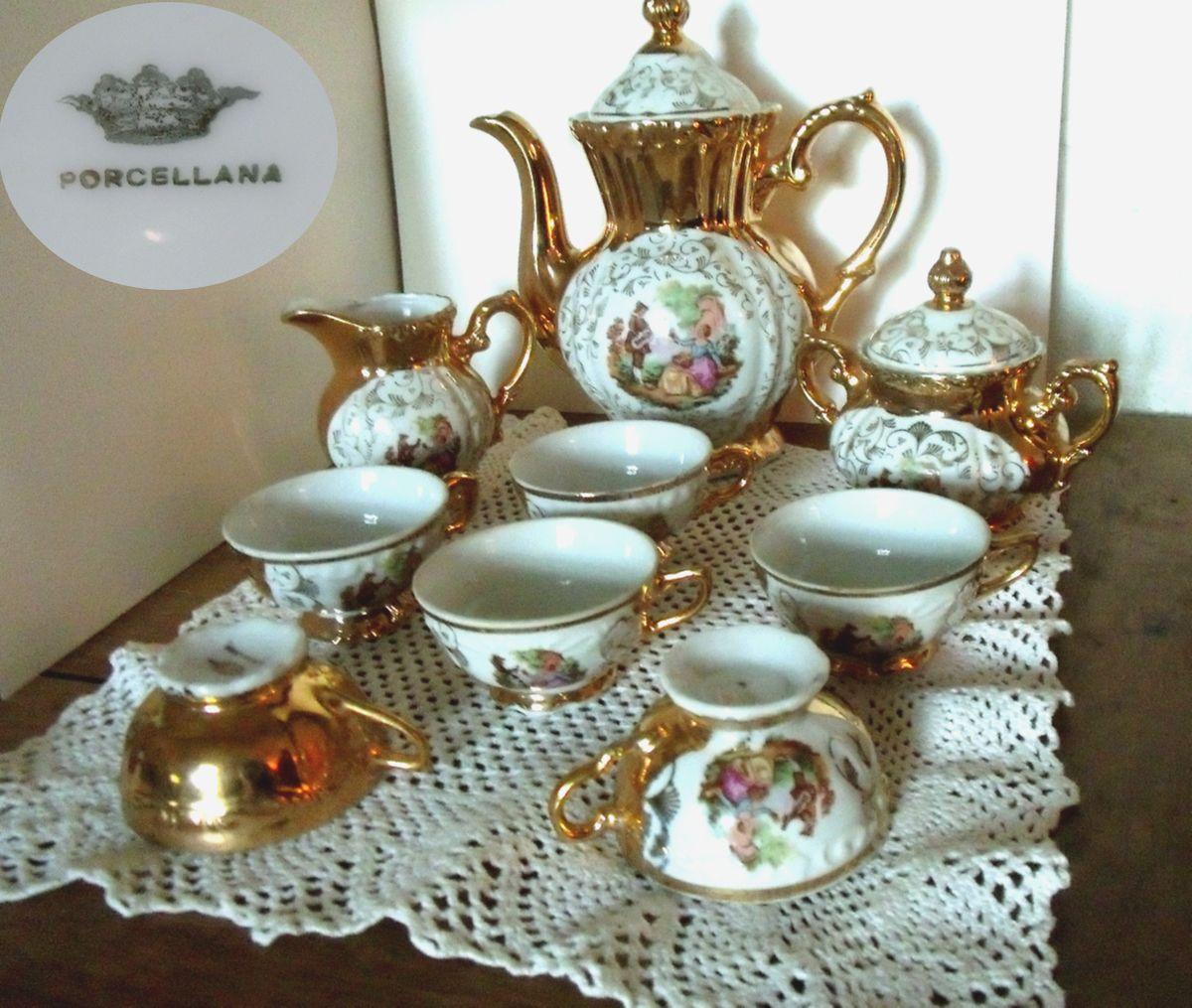 service caf moka porcelaine italienne or et m daillon fragonard luckyfind. Black Bedroom Furniture Sets. Home Design Ideas