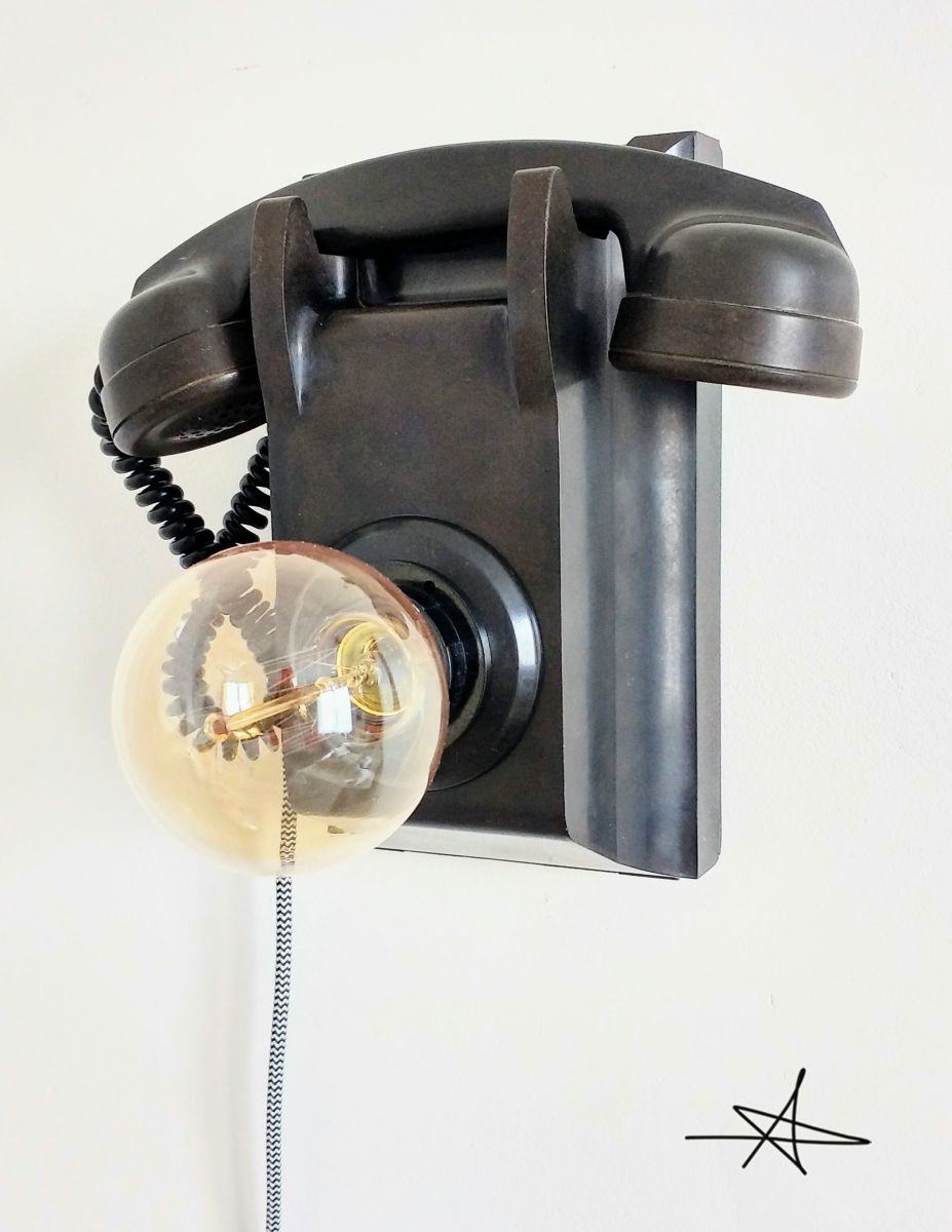 lampe murale industrielle applique vintage black phone. Black Bedroom Furniture Sets. Home Design Ideas