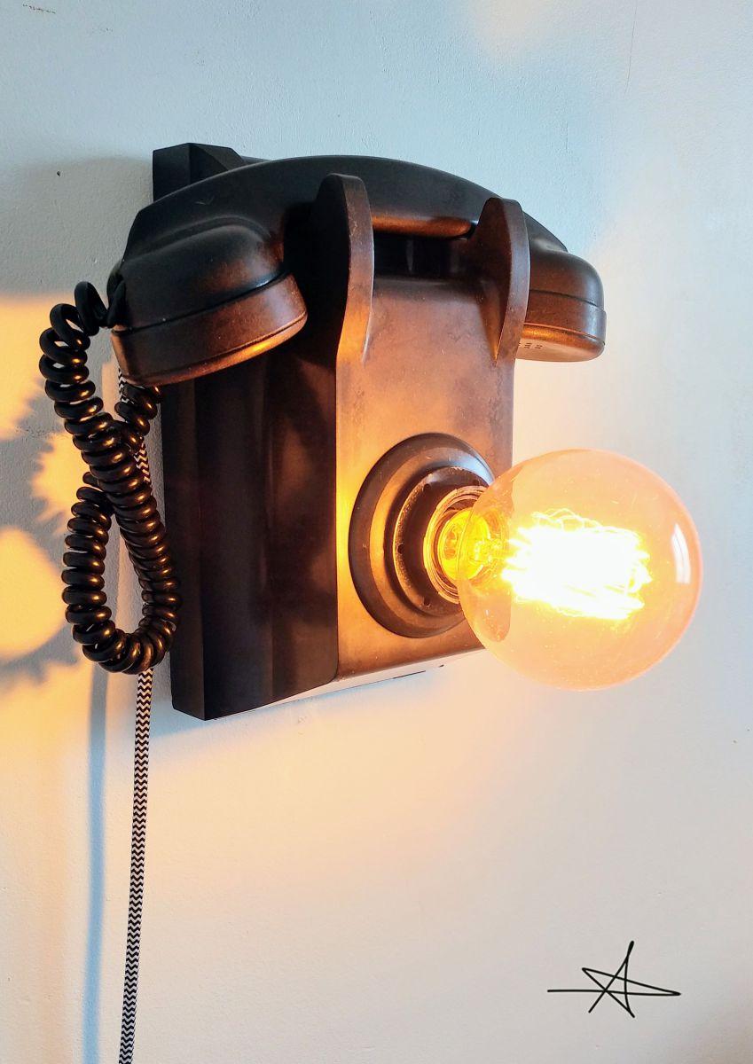lampe murale industrielle applique vintage black phone luckyfind. Black Bedroom Furniture Sets. Home Design Ideas