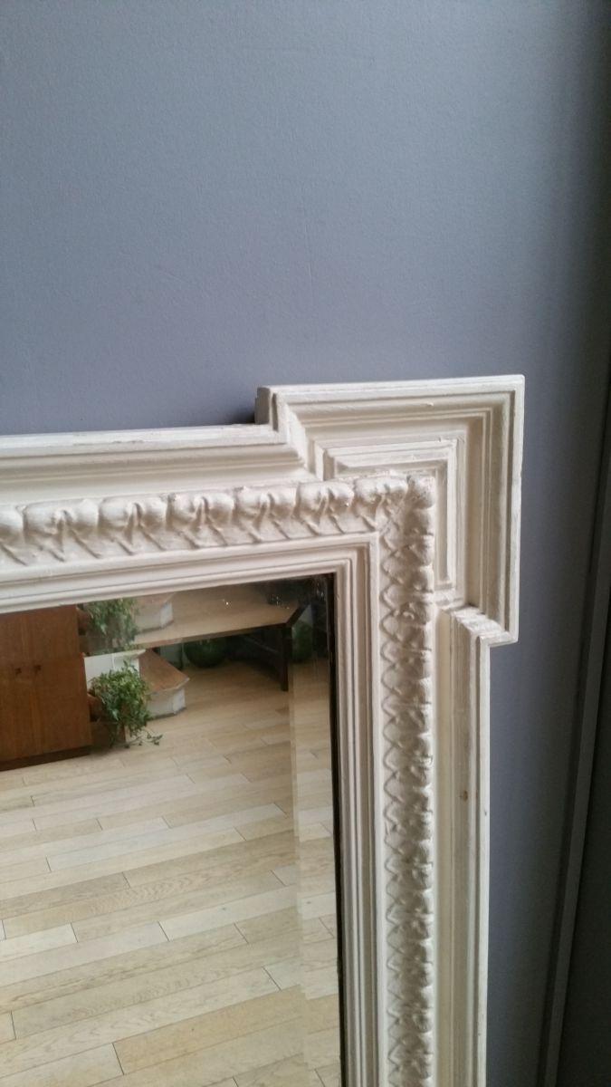 grand miroir biseaut ancien patine blanche d 39 origine luckyfind. Black Bedroom Furniture Sets. Home Design Ideas