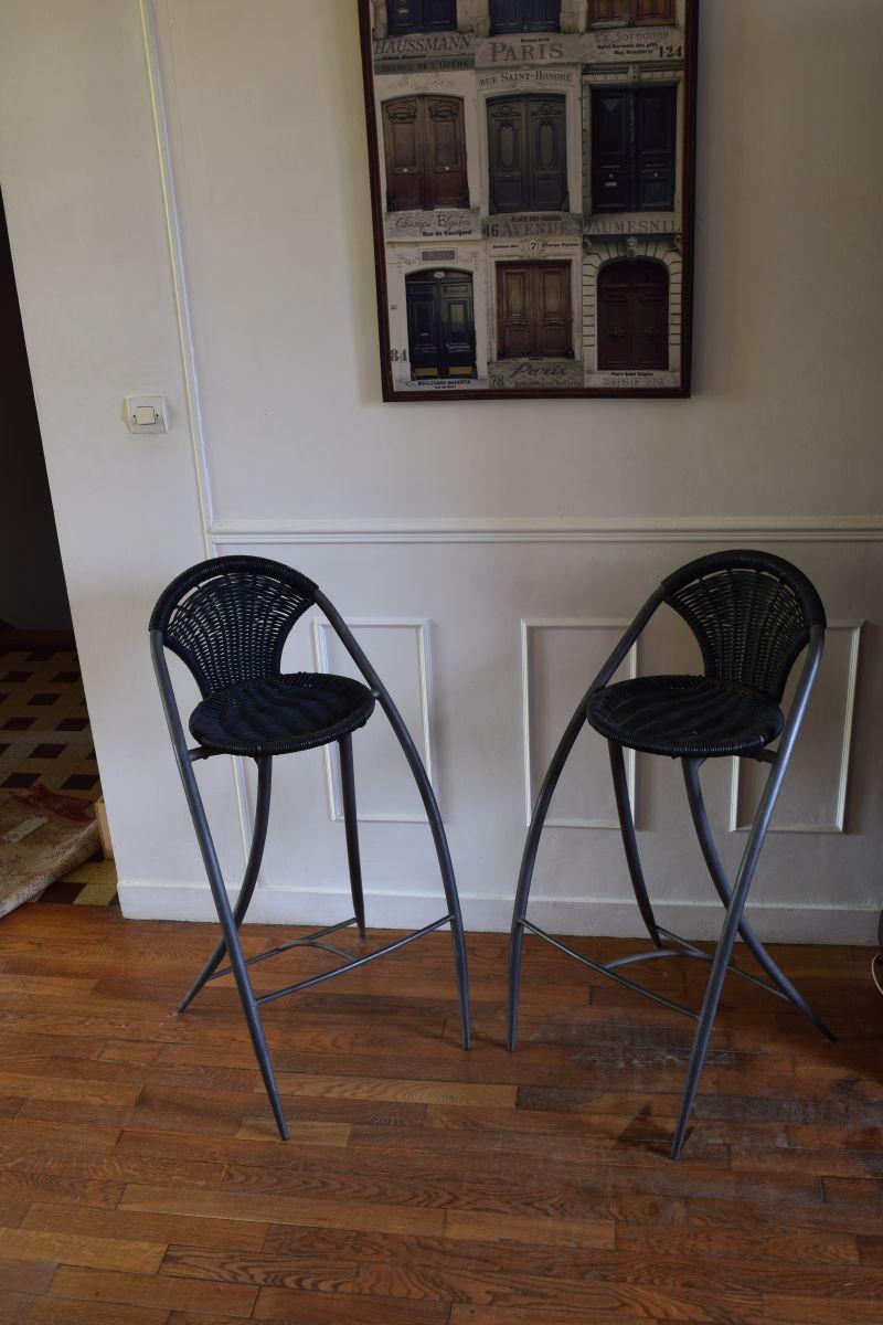 deux tabourets de bar philippe starck luckyfind. Black Bedroom Furniture Sets. Home Design Ideas