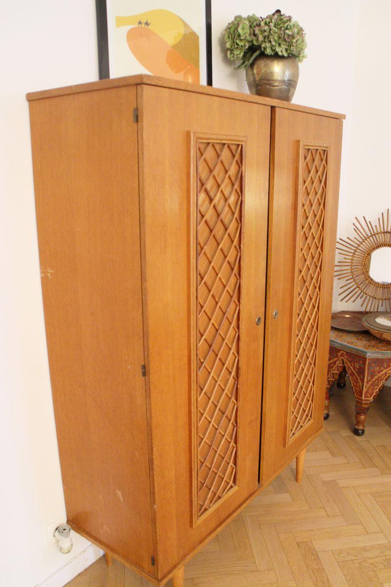 armoire rotin vintage scandinave années 50 pieds compas – luckyfind